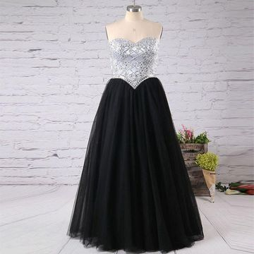 Long Black A-line Sweetheart Sleeveless Zipper Crystal Detailing Prom Dresses 2019