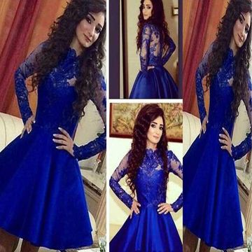 Sexy A-line Long Sleeves Zipper Appliques Homecoming Prom Dresses 2019 For Short Girls