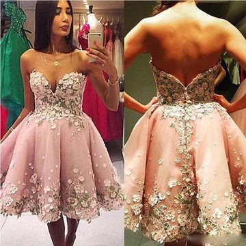 A-line Sweetheart Sleeveless Backless Appliques Homecoming Prom Dresses 2019 Open Back