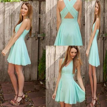 Cheap Cute A-line Straps Sleeveless Criss Cross Homecoming Prom Dresses 2019 V-Neck For Short Girls