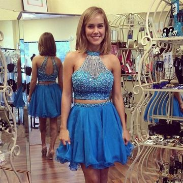 Cute Blue A-line Halter Sleeveless Zipper Beading Homecoming Prom Dresses 2019 Two Piece