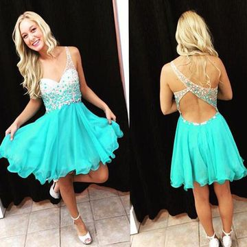 49%OFF A-line Straps Sleeveless Zipper Beading Homecoming Prom ... 70a5be981