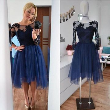 Appliques Homecoming Prom Dresses 2019 3/4 Length Sleeves