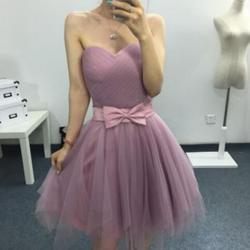 Cute A-line Sweetheart Sleeveless Zipper Sash/Ribbon Homecoming Prom Dresses 2019 For Short Girls