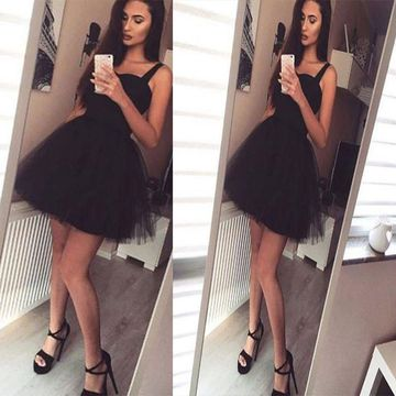 Cute Black A-line Spaghetti Straps Sleeveless Zipper Homecoming Prom Dresses 2019