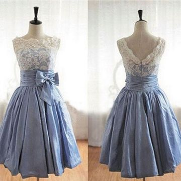 Blue A-line Sleeveless Zipper Appliques Bridesmaid Dresses / Prom Dresses 2019