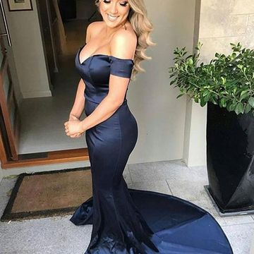 Long Sexy Blue Mermaid Off the Shoulder Sleeveless Zipper Prom Dresses 2019
