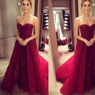 Red Long Evening Dresses 2020 A-line Strapless Sleeveless