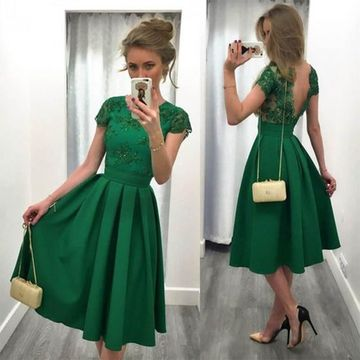 Green Short Cocktail Dresses 2019 A-line