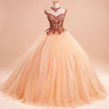 Long Ball Gown Capped Sleeves Zipper Appliques Prom Dresses 2019 For Short Girls