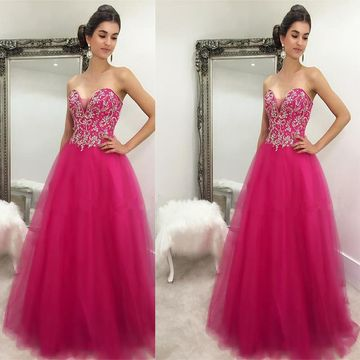 c1b2a844817 49%OFF Fuchsia Long Quinceañera Dresses 2019 Ball Gown Strapless ...