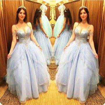 Light Sky Blue Long Quinceañera Dresses 2019 Ball Gown Sexy