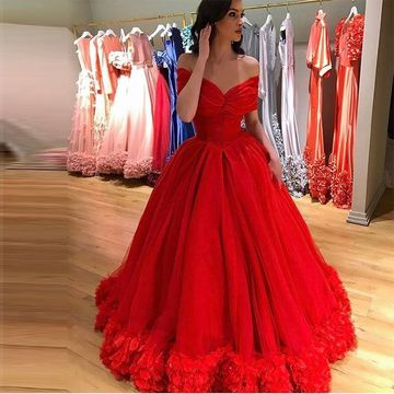 Long Red Ball Gown Short Sleeves Zipper Flowers Prom Dresses 2019 For Short Girls