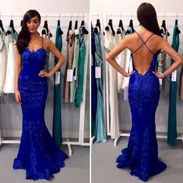Long Sexy Mermaid Spaghetti Straps Sleeveless Backless Prom Dresses 2019 Open Back Lace