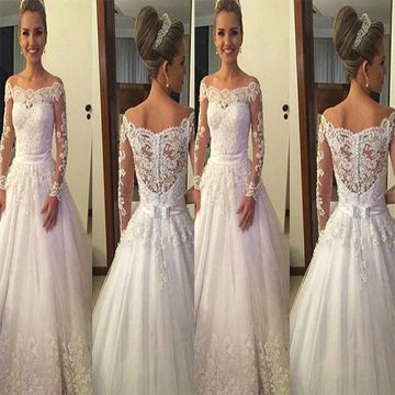 White Wedding Dresses 2020 Ball Gown Long Sleeves Lace