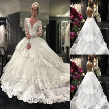 8bd3bfd262 49%OFF Ivory Long Wedding Dresses 2019 Ball Gown V-Neck Long Sleeves ...