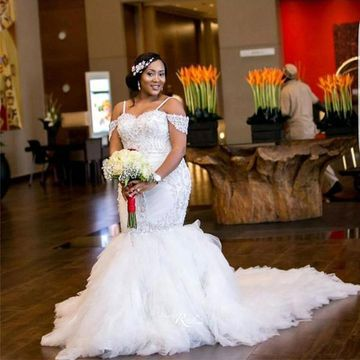 Long Wedding Dresses 2019 Mermaid African Plus Size