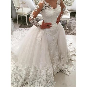 Long Wedding Dresses 2019 A-line V-Neck Long Sleeves Lace