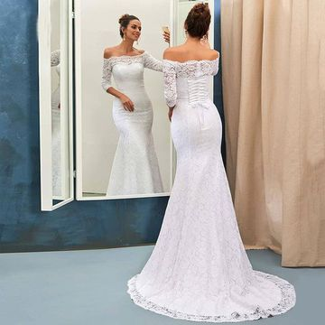Long Wedding Dresses 2019 Mermaid Off the Shoulder Lace