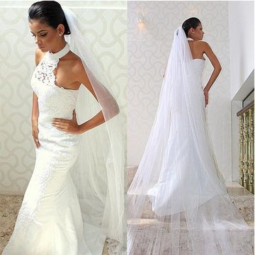 White Long Wedding Dresses 2019 Sheath Halter Sleeveless