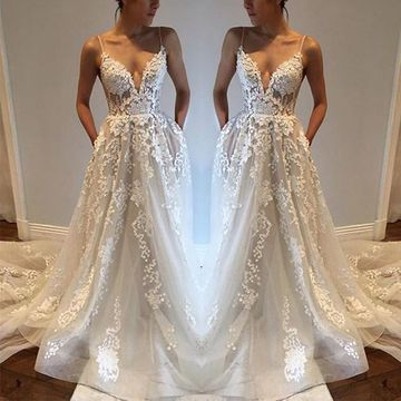 White Long Wedding Dresses 2019 Ball Gown Sleeveless Sexy
