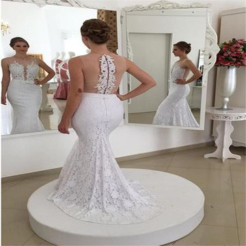 White Long Wedding Dresses 2019 Mermaid Sleeveless Lace Sexy