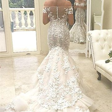 Off the Shoulder Long Wedding Dresses 2019 Mermaid Sexy Lace