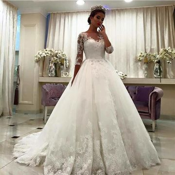 White Long Wedding Dresses 2019 Ball Gown Lace African