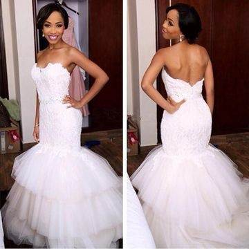 White Long Wedding Dresses 2019 Mermaid Strapless Sleeveless Lace African Sexy