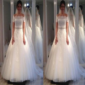 White Long Wedding Dresses 2020 Ball Gown Lace