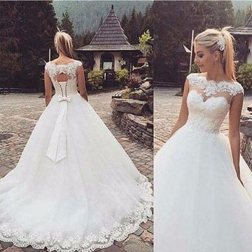 White Long Wedding Dresses 2019 Lace