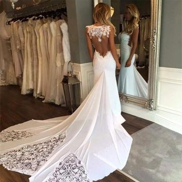 White Long Wedding Dresses 2019 Mermaid Sleeveless Open Back Lace Sexy For Short Girls