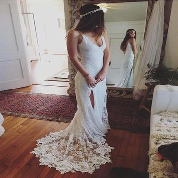 White Wedding Dresses 2020 Sheath Sleeveless Open Back Lace Sexy For Short Girls