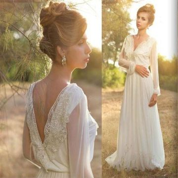 White Long Wedding Dresses 2020 A-line V-Neck Long Sleeves Chiffon Lace