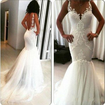 White Long Wedding Dresses 2019 Mermaid Sleeveless Open Back