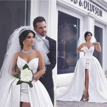 White Long Wedding Dresses 2019 A-line Sleeveless Sexy