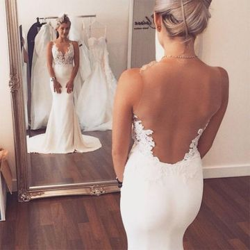 White Long Wedding Dresses 2019 Mermaid V-Neck Sleeveless Open Back