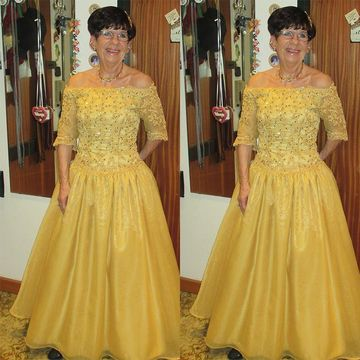 cf681bd5067 49%OFF Yellow Long Mother of Bride Dresses 2019 A-line Lace ...
