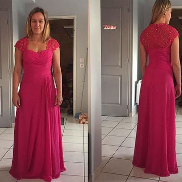 Fuchsia Long Mother of Bride Dresses 2020 Sheath Chiffon Sexy