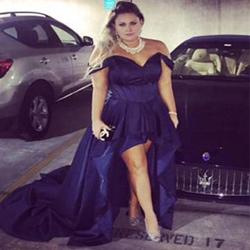 Long Plus Size Sexy A-line Short Sleeves Zipper Prom Dresses 2019