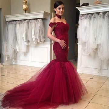 Long Sexy Burgundy Mermaid Sleeveless Zipper Appliques Prom Dresses 2019