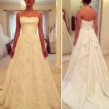 White Long Wedding Dresses 2020 A-line Strapless Sleeveless Lace
