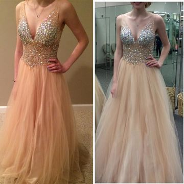 Beige/Champagne Long Prom Dresses 2019 A-line V-Neck Sleeveless Sexy