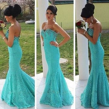 Long Sexy Blue Mermaid Strapless Sleeveless Zipper Beading Prom Dresses 2020 Lace