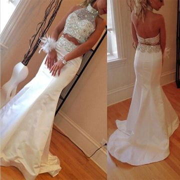 White Long Wedding Dresses 2019 Mermaid Halter Sleeveless Two Piece
