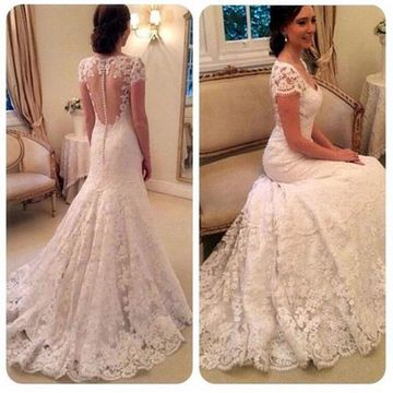 6d10482075fa 49%OFF White Long Wedding Dresses 2019 Mermaid V-Neck Lace Sexy ...