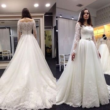 White Long Wedding Dresses 2020 A-line Long Sleeves Lace