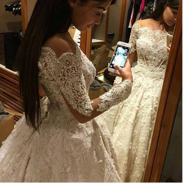 White Long Wedding Dresses 2019 A-line Long Sleeves