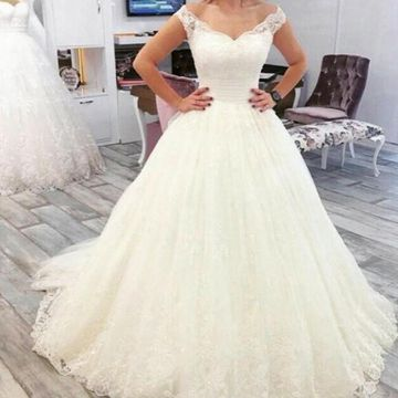 Ivory Long Wedding Dresses 2019 A-line Lace Sexy