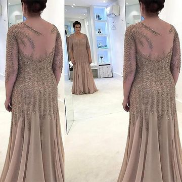 Beige/Champagne Long Mother of Bride Dresses 2019 Sheath Long Sleeves Chiffon